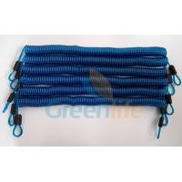 China Big Stronger and Durable Transparent Blue Long Wire Steel Coiled Lanyard Leash w/Stainless Steel Carabiners wholesale
