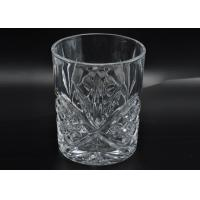 China 313ml Leave Pattern Embossment Clear Votive Glass Candle Holders Replacement Candle Jar wholesale
