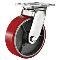 Red Heavy Duty Swivel Plate Caster Wheel / 6 Inch Caster Wheels Polyurethane On Iron