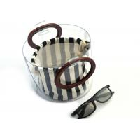 Quality Canvas Round Shape Navy Blue Clutch Bag Stripe Pattern With Wood Handle 0.8 MM for sale