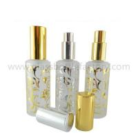 China 50ml Cylindrical Hot Stamping Perfume Glass Bottles With Sprayer And Cap wholesale