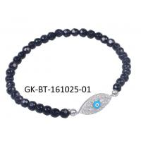 China Elegant & unique fashion design 925 sterling silver jewellery with black beads and single white CZ bead wholesale