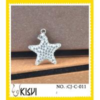 China Low MOQ white CZ crystal & 925 silver star handcrafted crystal charm for girls wholesale