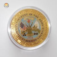 China Gold tone metal souvenir coins with enamel in clear plastic box package on sale