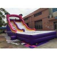 China 0.55mm Pvc Purple Inflatable Bouncer Slide With Pool For Kids 6x3x3m wholesale