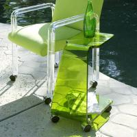 China Modern Acrylic Furniture ,Clear Green End Table With Casters wholesale