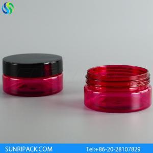 China 80ml red plastic jar, 2.5oz semi-red PET jar, 80ml red mouth plastic jar wholesale