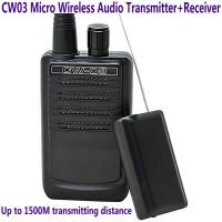 China CW03 Micro Wireless Audio Transmitter+Receiver Listening Bug 500M Remote Sound Monitor wholesale