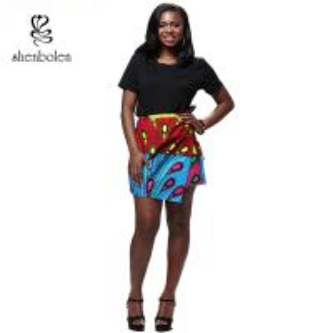 China Summer Lady African Print Maxi Skirt Irregular Design Belt Skirt Batik Cloth wholesale