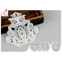 China Heavy Retro Guipure Neckline Applique Trim Size 9 * 10.5 Cm / Bridal Lace Appliques wholesale