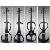 Quality Black Solid Basswood Left Handed Electric Violin With Inlaid Purfling for sale
