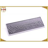 China OEM Service Decorative Shiny Chrome Metal Logo Tags , Zinc Alloy Custom Logo Clothing Labels  wholesale