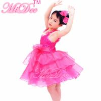Buy cheap Flower Kids Dance Clothes Straps Sequines Bodice Tiers Organza Dress With Ruffled Skirt product