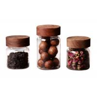 China Clear Small Coffee Canister Glass Kitchen Storage Jars With Wood Lid Round Shape wholesale