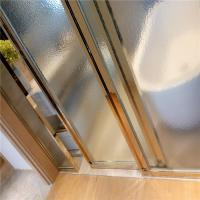 China Hotel bathroom brushed stainless steel rose gold framed glass partition screen wholesale