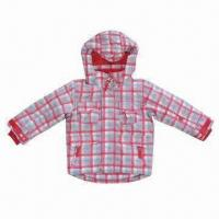 China Children Winter Jacket with Checkered Print, Made of 210T Polyester Lining wholesale