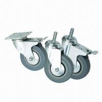 China Gray Rubber/PVC Casters for Furniture, 40, 45, 55, 70 and 80kg Loading Capacities  wholesale