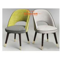 China Leisure Padded Fabric Dining Chairs with Black Solid Wooden Legs on sale