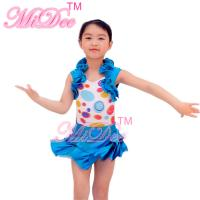 Buy cheap 2 in 1 Colorful Kids Dance Clothes Cutie Cercle Confetti Bodice Halter Neck Leotard Tiered Ruffle Skirt product