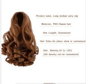 China Frida fashion long medium curl wig for vinyl girl doll wholesale