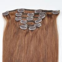 China Factory Price Brown Hair Color Silky Striaght Clips in Hair Extension in stock wholesale
