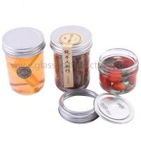 Buy cheap 4oz and 8oz Empty Clear Round Glass Jam Jar With Silver Aluminum Lid from wholesalers