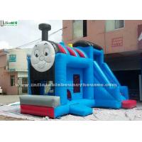 China Huge Outdoor Thomas Train Inflatable Bounce Houses With Slide Blue Color wholesale