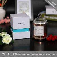 China Luxury domed soy wax candle with rose gold glass jar,bell glass lid and gift box wholesale