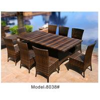China 9-piece synthetic rattan wicker outdoor patio classic hotel dining furniture 8 armless chairs-8038 wholesale