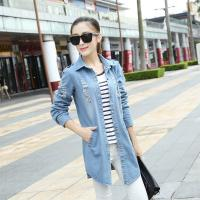 China Skinny Stretch Light Blue Womens Jean Jackets Damaged Broken Holes Dark Wash wholesale