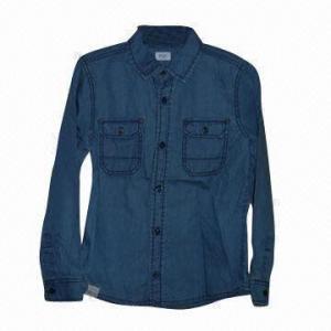 China Boys denim shirt, soft hand texture on sale