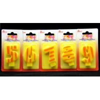China Number Birthday Candles 0-9 Yellow Candle  with Orange color Stripe Painting wholesale