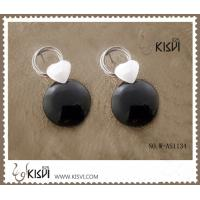 China 925 fashion sterling silver gemstone heart earrings with black agate W-AS1134 wholesale