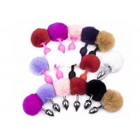 Quality Silver Metal Anus Plugs 7 colors Vibrator Sex Toy Rabbit Tail Anal Plug Spiral Beads for sale