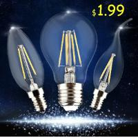 China Edision COB lamp LED Filament Bulb Candle Light E27 E14 End Cap Glass cover wholesale