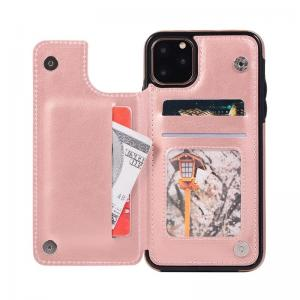 China iPhone11 Flip Card Holder Pink ODM Leather Flip Cover wholesale
