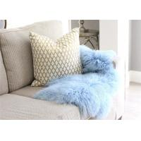 China Light Blue Long Hair Mongolian Sheepskin Rug Chair Cover With Customized Size wholesale