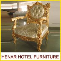 China Luxury Commercial Hotel Golden Wood King Throne Chair for Lobby European Style wholesale