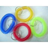 China Hot sales red blue/yellow/green transparent wristband coil holder w/key ring for anti-lost wholesale