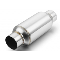 """China 2.5"""" Inlet 2.5"""" Outlet 63.5mm Stainless Steel Resonator 12"""" Overall Length Polished wholesale"""