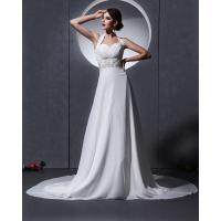 China Elegant around the neck Chiffon Wedding Dresses with open back / cathedral train wholesale