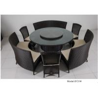 China 7-piece PE rattan wicker rotating round table hotel dining set for 9 people -8131 wholesale