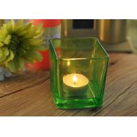China OEM Square Replacement Glass Candle Holder With Different Colors wholesale