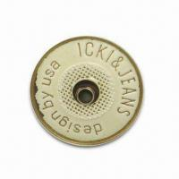 China 20.5mm Open Top Jeans Button, Brass Bronze Color Chip and Rice-colored Enamel wholesale