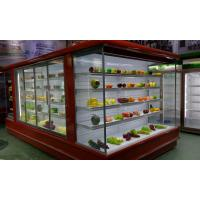China Red Multideck Open Chiller Bakery Dairy food Refrigerator Showcase Mirror Top wholesale