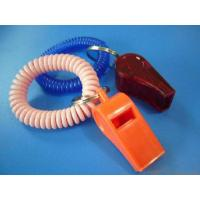 China Promotional Plastic Whistle in Red Color w/Wrist Coil Band wholesale