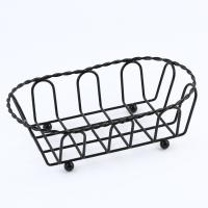 China Metal Food Serving Baskets Black Powder Coating 190X105X55 Mm Size wholesale