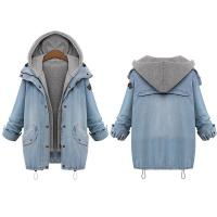 China Cheap Plus size drawstring twinest hooded outwear denim coat for women on sale