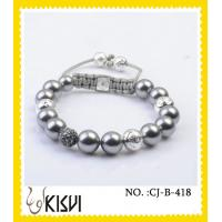 China High quality guarantee white adjustable size crystal beaded bracelet for anniversary, gift wholesale