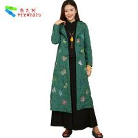 Quality Women Long Padded Embroidered Winter Coats Traditional Style With Single Breasted for sale